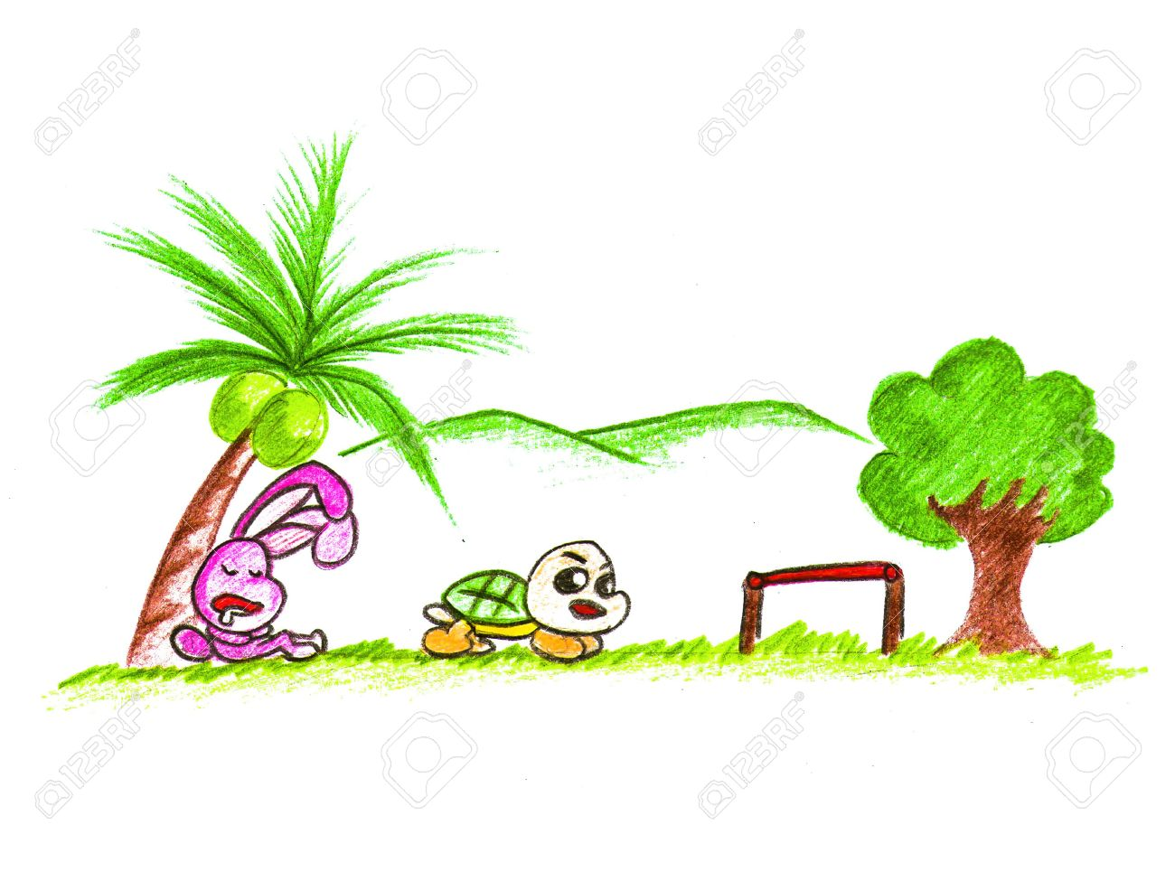 source of image: http://previews.123rf.com/images/mansum007/mansum0071501/mansum007150100189/35827735-cartoon-rabbit-and-turtle-Stock-Photo.jpg