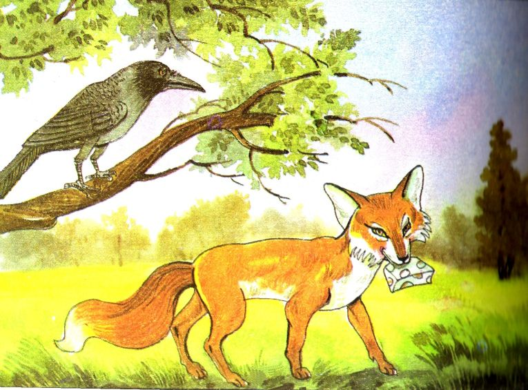 source of image: http://1.bp.blogspot.com/_O2ysYEQ3noo/THAKMheKhpI/AAAAAAAAAJ4/EskMb3CzkzI/s1600/05c+Fox+and+Crow.jpg